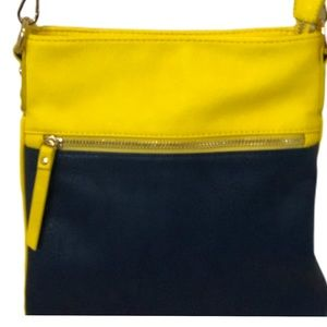 Charming Charlie crossbody purse yellow and blue